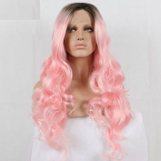 kylie Jenner ombre black to pink body wave synthetic lace front wig with heat resistant fibre women wig dark root drag queen wig