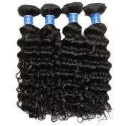 BLACKMOON HAIR(TM) Brazilian Virgin Remy Human Hair Extension Weave Bundles 4 Bundles Deep Wave Unprocessed Natural Colour 95-100g/PC Mixed Length 16 18 20 60cm