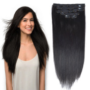 41cm Clip in Hair Extensions Real Human Hair Double Weft Thick to Ends Jet Black(#1) 6pieces 70grams70ml