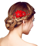 Happy Hours - Handmade Bridal Hair Flower Side Comb Barrette Headpiece with Tulle Flower Wedding Accessories