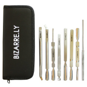 BEST BIZARRE.LY 8 Piece Cuticle Pusher Care Set - PROFESSIONAL Manicure Nail TOOLS - HIGH QUALITY - STAINLESS STEEL - Perfect For REPAIRING, FIXING, SHAPING, NIPPING and CLEANING Cuticles On ALL Nails
