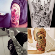 Beauty7 Large 4 Sheets Temporary Tattoo Men Rose Skull Deer Koi Fish Totem Eye Non-toxic Waterproof Removable Arm Body Art Fake Transfer Tattoo Stickers