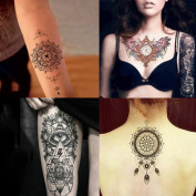 Beauty7 Large 4 Sheets Temporary Tattoo Women Clock Wings Totem Eye Non-toxic Waterproof Removable Arm Body Art Fake Transfer Tattoo Stickers