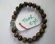 WholesaleGemShop - Tiger Eye 8 mm Bead Buddha Bracelet