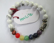 WholesaleGemShop - Howlite Buddha Bracelet with chakra beads