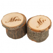 Tinksky 2pcs Wedding Ring Box Wooden Printed Mr Mrs Shabby Chic ring box