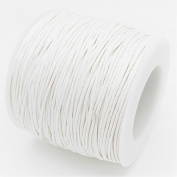WHITE 1mm Waxed Cotton Braided Cord Wax Polished Macrame Beading Artisan String
