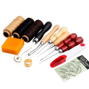 Wrisky 13Pcs Leather Craft Hand Stitching Sewing Tool Thread Awl Waxed Thimble Kit