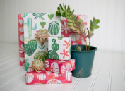 Cactus Watercolour/ Blooming Succulents Designer Gift Wrap (6 Sheet Value Pack) - Reversible - Eco-friendly Wrapping Paper By Wrappily
