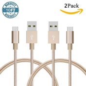 SAUS 2 Pack 3m Extra Long Nylon Braided Lightning USB Charging 8 Pin Cables Cord with Aluminium Connector for Samsung, HTC, Motorola, Nokia, Android, and More