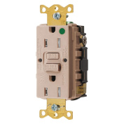 Hubbell GFTWRST82AL Gfci Heavy Use Receptacle, 15 Amps, Tamper/Weather Resistant, 5-15R, Decorator, Self-Testing