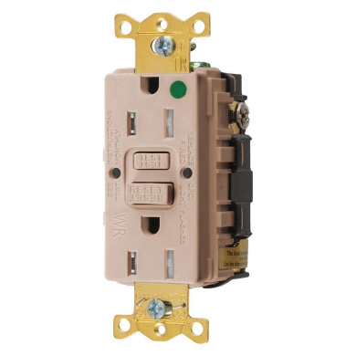 Hubbell GFTWRST82AL Gfci Heavy Use Receptacle, 15 Amps, Tamper/Weather Resistant, 5-15R, Decorator, Self-Testing: YES, Almond