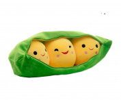 Special Life 3 Peas-in-a-Pod Plush Toy Doll Creative Stuffed Peapod Pea Throw Pillow, Green Bag with Yellow Peas, Zipper Closure Pod (XL