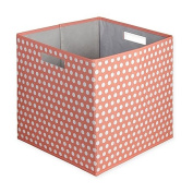 Dotted Fabric Full Storage Bin in Coral