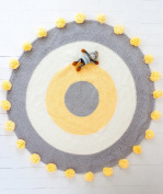 Pom Pom Playmat Handmade From Softest Cottons for Baby in Fun Designs Crochet Blanket Rug
