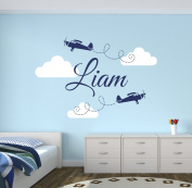 Custom Aeroplanes Boy Name Wall Decal Baby Boy Room Decor Nursery Clouds Wall Decal Vinyl Sticker