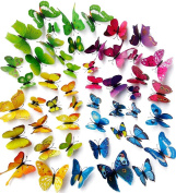 A Little Lemon 48 PCS multicoloured 3d Butterfly Wall Stickers Decals ,12pcs Purple 12pcs Blue 12pcs Yellow 12pcs Green,Durable Plastic Butterfly Decorations,wall Decor