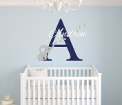 Custom Elephant Name Wall Decal Baby Room Decor Nursery Elephant Wall Decal Vinyl Sticker