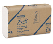 Scott Multifold White Paper Towels with Fast-Drying Absorbency Pockets, 16 Packs / Case, 250 Multifold Towels / Pack