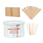 Cirepil Nacree Blanche Wax (410ml) Kit, includes 100 X-Small and 60 Large Applicator Sticks ...