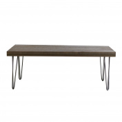HobbitHoleCo Coffee Table with Real Canadian Pine Wood Top and Hairpin Style Metal Legs, 110cm x 50cm x 2cm x 110cm , Brown