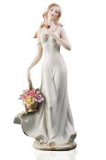 Lady in White With Flowers Pretty Woman Beauty Porcelain Figurine Statuette Figure Collectibles
