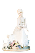 Lady in White Playing With Puppy Pretty Woman Beauty Porcelain Figurine Statuette Figure Collectibles