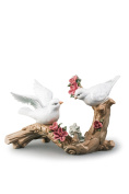 Doves On Blossoming Branch Love Birds Couple Porcelain Figurine Statuette Figure Collectibles