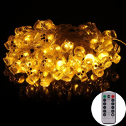 [Remote & Timer] 4.9m Battery Operated Halloween String Light With 50 LED Skulls, 8 Modes Dimmable