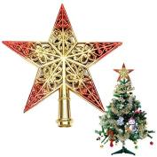 Pink Lizard Shiny Decorative Christmas Tree Star Pendant Top Ornament