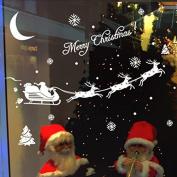 Pink Lizard Christmas Santa Claus Reindeer Snowflakes Wall Sticker Decoration