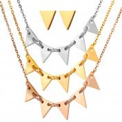 Women 3 Tone Multi-layer Necklace Triangle Design Stud Earrings Jewellery Set