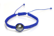 Tahitian Pearl Macarme Shamballa Bracelet 9 mm set in Green, Blue and Black/ Red