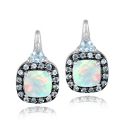 Sterling Silver Created White Opal & Blue Topaz Square Drop Earrings
