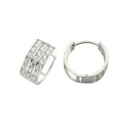 Wide Flat Hinged Hoop Huggie Earrings with Cubic Zirconia in 14K White Gold