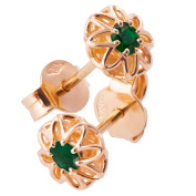 18K Solid Rose Gold Unique Celtic Earrings For Women Set With Emeralds