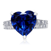 Sterling Silver Heart Shaped Simulated Blue Sapphire with Clear Cubic Zirconia Ring, 12mm