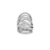 Women's 18k White Gold and Diamond Crossover Cocktail Ring