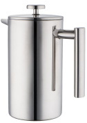 MIRA Small Stainless Steel French Press -5 cup Coffee Plunger, Press Pot, Best Tea Brewer & Maker, Quality Cafetiere - Double Walled.