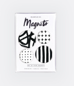 Idlewild Mod Black and White 4 Piece Magnet Set for the Fridge or Office