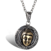Blowin Stainless Steel Good Luck Buddha Pendant Necklace, Unisex, 60cm Chain