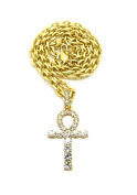 """Women's Egyptian Pave Ankh Pendant 4mm 18"""" Link Chain Necklace in Gold Tone"""