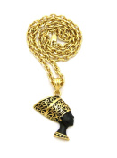 """Women's Egyptian Side Face Queen Nefertiti Pendant 4mm 18"""" Link Chain Necklace in Gold Black Tone"""
