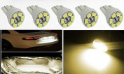 Partsbox 5pcs Warm White T10 Miniature Wedge PC194 168 W5W 6-SMD3528 LED Light Bulb Instrument Panel Gauge Cluster Dash Lighting Indicator Lamps