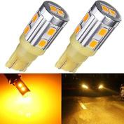 Partsbox 2pcs Amber T10 2825 W5W 194 LED bulbs High Power SMD2835 Chip 10LED Car Interior Light Bulbs Running Marker Light