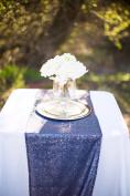 TRLYC 33cm *150cm Navy Blue Sequin Tablerunner for Wedding/Party