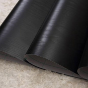 SimpleLife4U Solid Black Wood Grain Contact Paper Self Adhesive Shelf Liner Door Countertop Cabinet Sticker 45cm by 3m