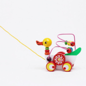 Wooden Ducklings Trailer Toy Children Kids Baby Colourful Wooden Mini Around Beads Educational Funny Duck Toys Gift