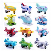 Wooden Helicopter Jet Aircraft for Kids Wooden Toy 12 Pcs/set