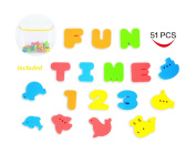 Joyin Toy 51 Pieces Educational Bath Letters, Numbers, Sealifes and Transporations Bath Toys with Toy Organiser